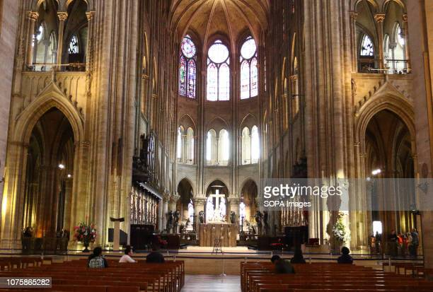 Interior view of the historic Cathedral Notre Dame Cathedral Notre Dame de Paris is an ancient Catholic Cathedral whose construction began during the...
