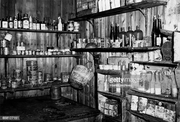 Interior view of the hut of Captain Robert Falcon Scott at Cape Evans Ross Island Antarctica April 1961 US Navy photograph