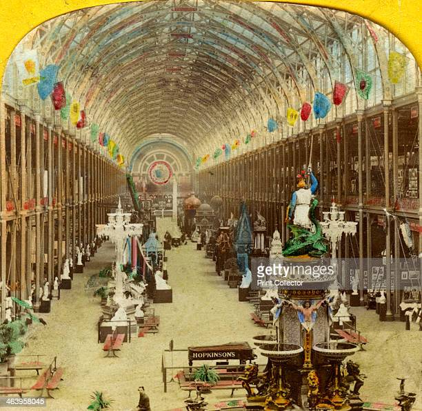 Interior view of the International Exhibition London Stereoscopic card detail