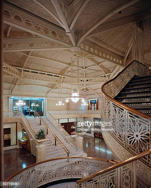 Interior view of the lobby of the Rookery Building, Chicago, Illinois, circa 1970. Designed by architects Burnham and Root.