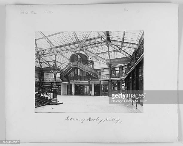Interior view of the lobby of the Rookery building, Chicago, Illinois, circa 1890.