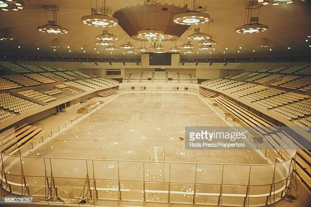 Interior view of the Makomanai Ice Arena in Sapporo Japan under construction in December 1970 prior to hosting the ice hockey and figure skating...