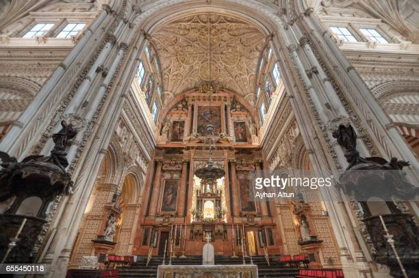 Interior view of The Mosque–Cathedral of Cordoba(Mezquita),Andalusia,Spain