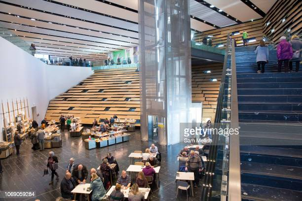 Interior view of the new VA Museum on the 8th November 2018 in Dundee Scotland in the United Kingdom The Japanese Architect Kengo Kuma designed the...