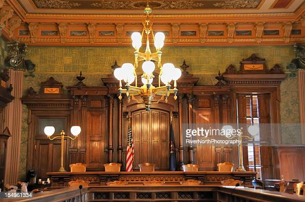 interior view of the ornate supreme court in lansing, michigan.  - lansing stock pictures, royalty-free photos & images