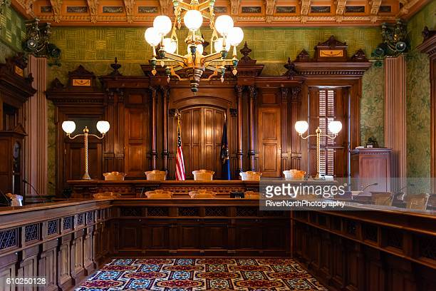 interior view of the ornate supreme court in lansing, michigan. - supremo tribunal - fotografias e filmes do acervo
