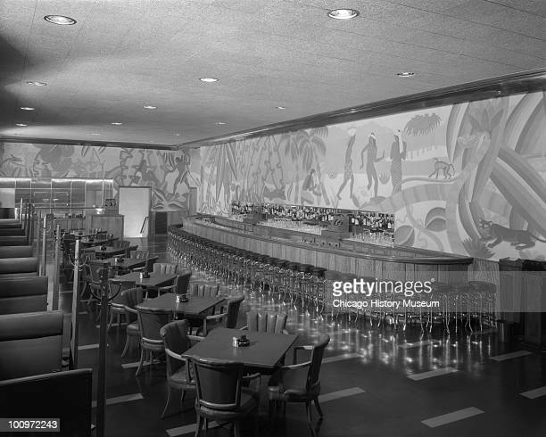 Interior view of the Palmer House Bar a cocktail lounge in the hotel at 17 East Monroe Street Chicago IL 1933 This view shows the bar surrounded by...