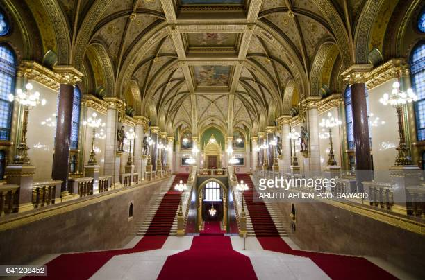 budapest, hungary - november 28, 2015: interior view of the parliament building in budapest - palace stock pictures, royalty-free photos & images