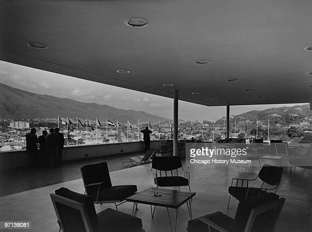 Interior view of the patio area at the Tamanaco Hotel in Caracas Venezuela 1958 Designed by Holabird Root