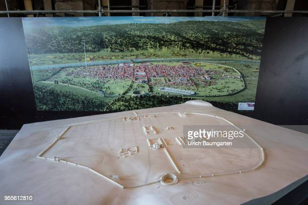 Interior view of the Roman city gate Porta Nigra landmark of Trier and built from 170 AD The city model conveys the size and shape of the Roman...