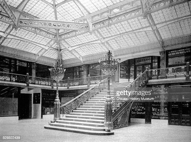Interior view of the Rookery Building lobby, Chicago, Illinois, 1893.