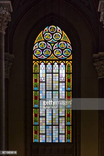 interior view of the saint antoine roman catholic church in beyoglu, istanbul,turkey - stained glass stock photos and pictures