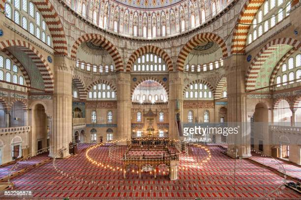 interior view of the selimiye mosque,edirne,turkey - edirne stock pictures, royalty-free photos & images