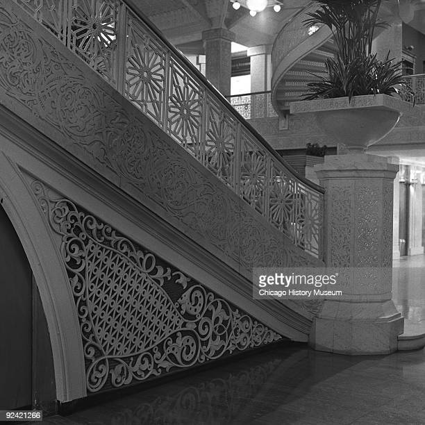 Interior view of the side of the staircase in the Rookery Building lobby at 209 South LaSalle Street on the corner of La Salle and Adams streets in...