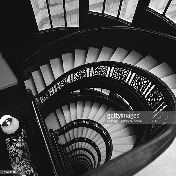 Interior view of the spiral staircase in the Rookery Building at 209 South LaSalle Street on the corner of La Salle and Adams streets in the Loop...