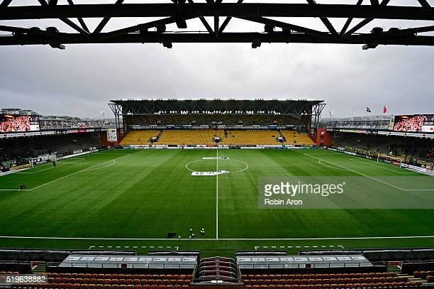 Interior view of the stadium Boras Arena before the Allsvenskan match between IF Elfsborg and Hammarby IF at Boras Arena on May 7, 2016 in Boras,...