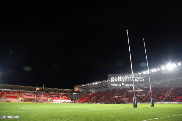 Interior view of the stadium during the Guinness PRO14 match between Scarlets and Cardiff Blues at Parc Y Scarlets Stadium on October 28, 2017 in...