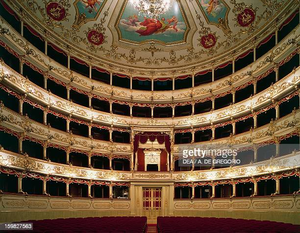 Interior view of the stage of the The Municipal Theatre in Reggio Emilia, 1852-1857, architectural design by Cesare Costa , named Romolo Valli....