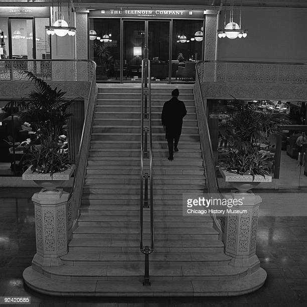 Interior view of the staircase in the Rookery Building lobby, at 209 South LaSalle Street, on the corner of La Salle and Adams streets in the Loop...