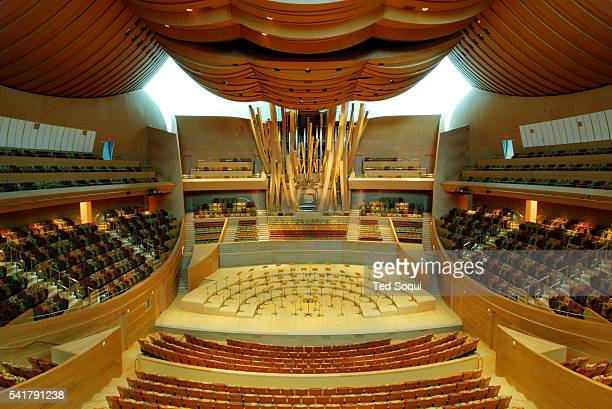 Interior view of the Walt Disney Concert Hall auditorium looking toward the stage and pipe organ The organ is designed by Frank Gehry in...
