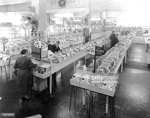 Interior view of Wallichs Music City record store which was started by Glenn E Wallichs who later started Capitol Records with 2 partners right next...