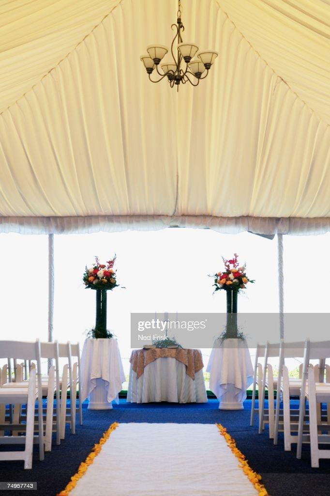 Interior view of wedding tent : Foto de stock