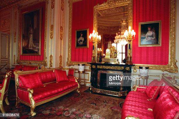 Interior view of Windsor Castle showing the Crimson Drawing Room restored after it was damaged by fire in 1992, 17th November 1997.