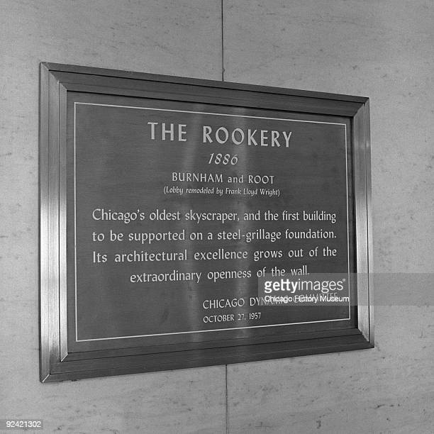 Interior view showing a closeup of a sign in the Rookery Building lobby at 209 South LaSalle Street on the corner of La Salle and Adams streets in...