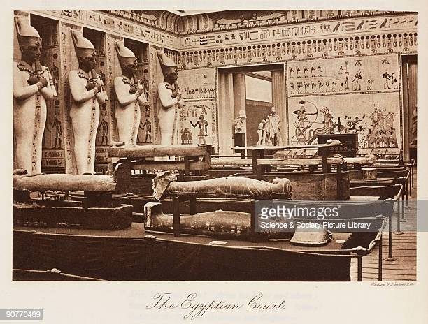 Interior view showing replica Ancient Egyptian statues wall paintings and sarcophagi The Crystal Palace was built to house the 'Great Exhibition of...