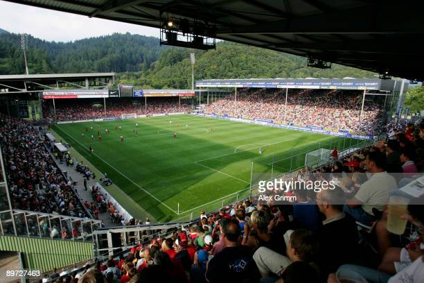 Interior view shows the Badenova Stadium before the Bundesliga match between SC Freiburg and Hamburger SV on August 9, 2009 in Freiburg, Germany.
