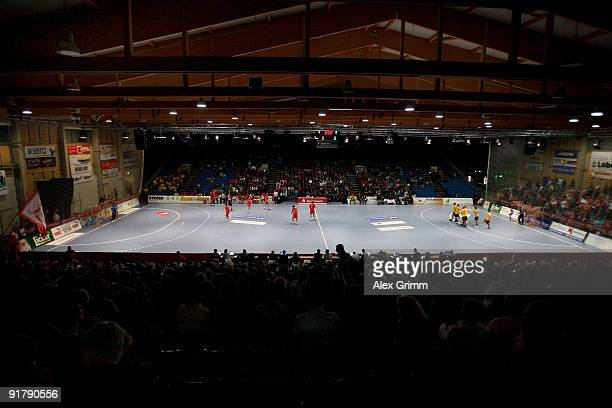 Interior view shows the Rothenbachhalle before the Toyota Handball Bundesliga match between MT Melsungen and RheinNeckar Loewen on October 10 2009 in...