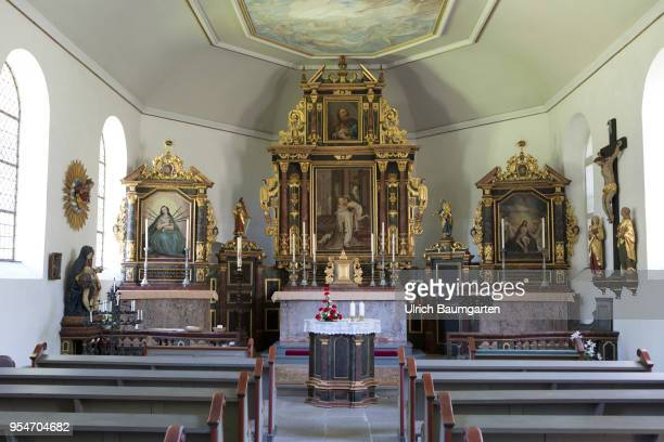 Interior view with altar of the popular chapel St Peter on the Petersberg near Koenigswinter at the river Rhine