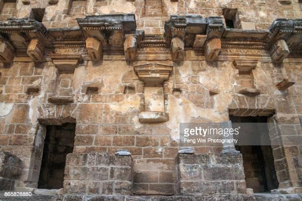 Interior wall of ancient Roman Theater, Aspendos, Antalya, Turkey