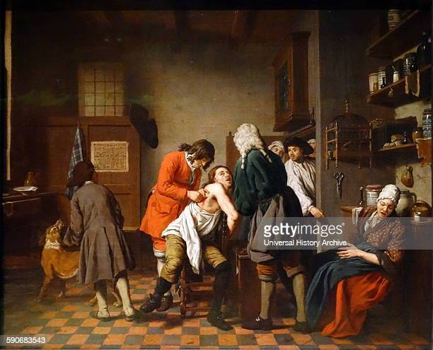 Interior with a surgeon attending to a wound in a man's side' by Johan Joseph Horemans Oil on canvas Flemish 1722