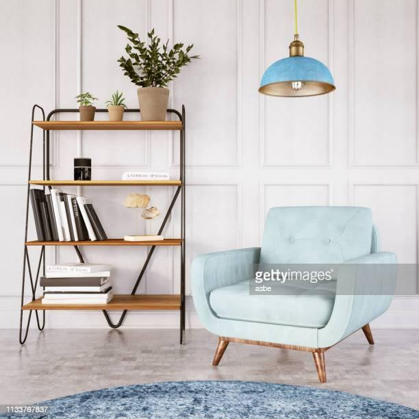 interieur mit sessel - pastellfarbig stock-fotos und bilder