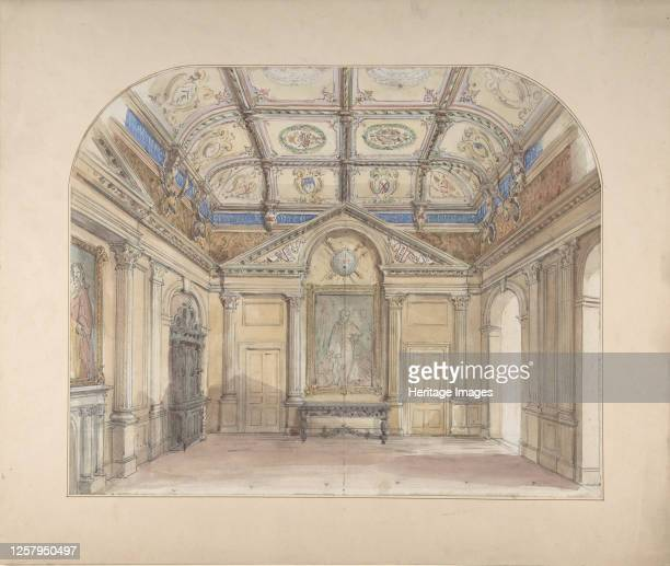 Interior with coffered ceiling and Corinthian order applied to walls, 19th century. Artist John Gregory Crace.