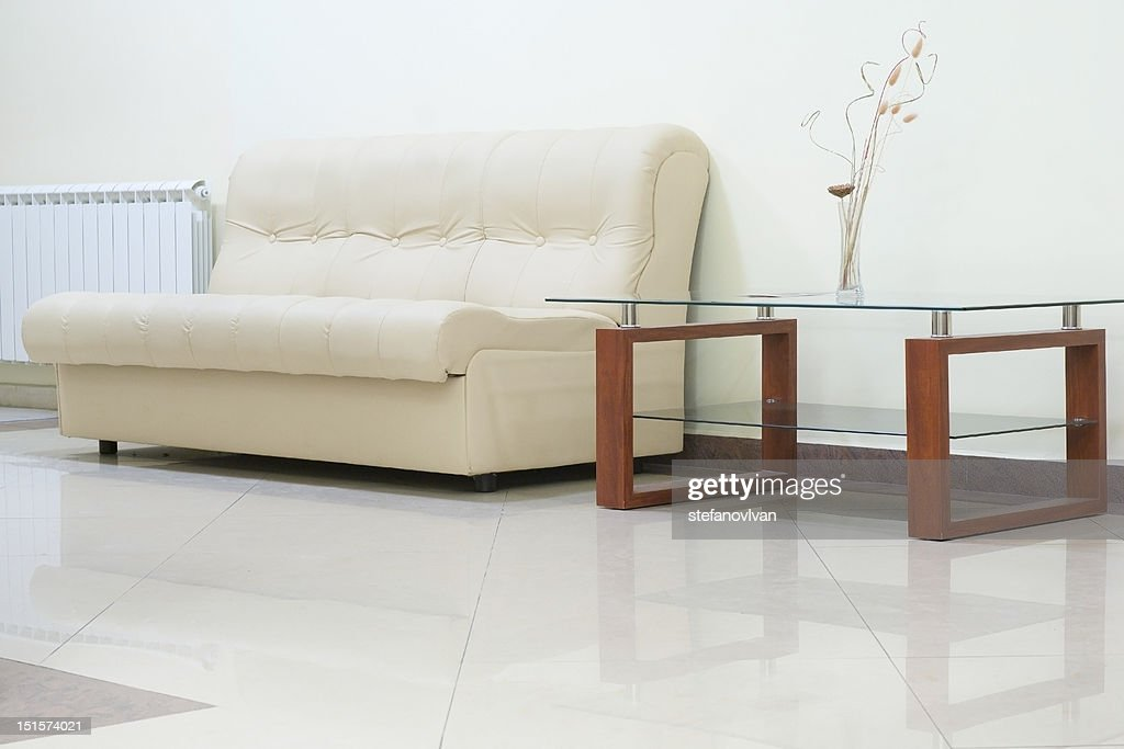 Interior With Sofa And Glass Table Stock Photo Getty Images