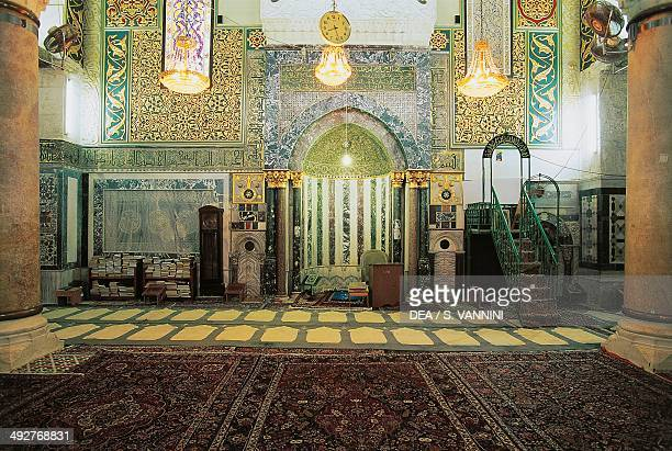 Interior with the mihrab of AlAqsa Mosque Old City of Jerusalem Israel