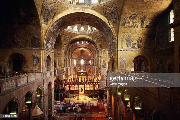 interiors of a cathedral, st. mark's cathedral, venice, veneto, italy - basilica di san marco foto e immagini stock