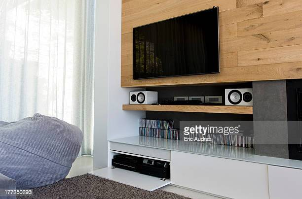 interiors of a living room - flat screen stock pictures, royalty-free photos & images
