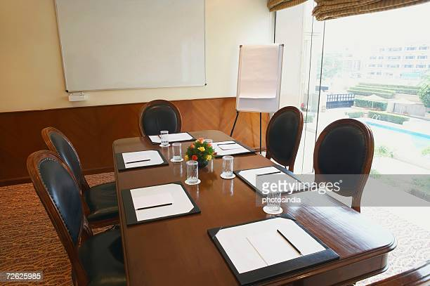 Interiors of an empty conference room