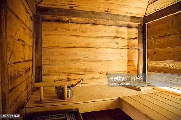 Interiors of sauna, Crans-Montana, Swiss Alps, Switzerland