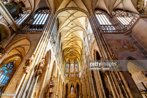interiors of st vitus cathedral, wenceslaus and adalbert, prague, czech republic - cathedral stock pictures, royalty-free photos & images