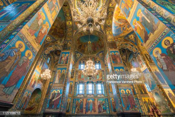 interiors of the church of the saviour on spilled blood, st petersburg. - sankt petersburg stock-fotos und bilder