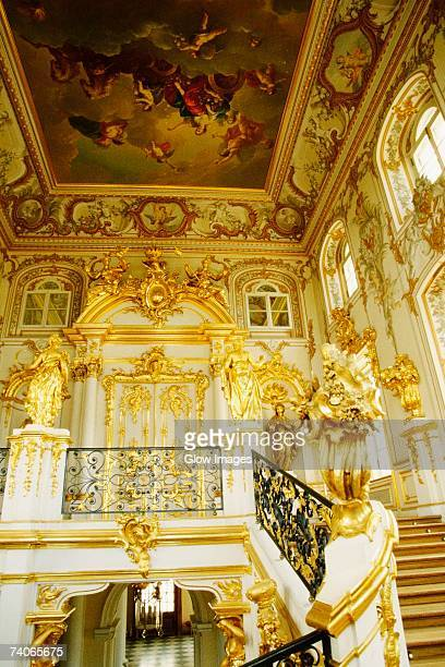 Interiors of the entrance hall of a palace, Peterhof Grand Palace, St. Petersburg, Russia