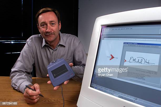 Interlink Electronics president and CEO E Michael Thoben with an ePad electronic signature pad His company produces technology that enables...