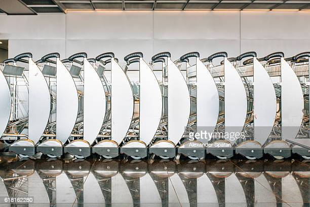 Interlocked luggage carts in an airport