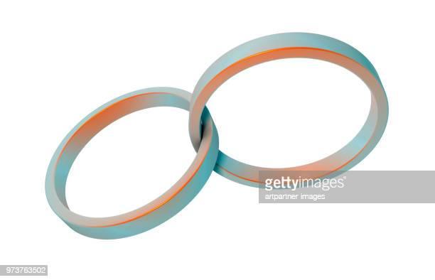 interlocked rings against white background - 組み合わさる ストックフォトと画像