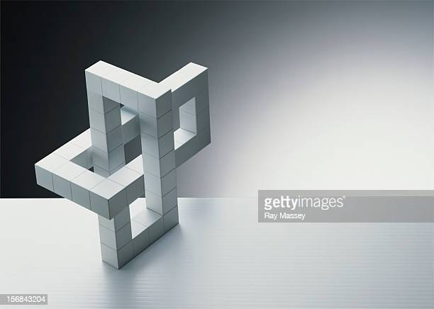 Interlocking white cubes