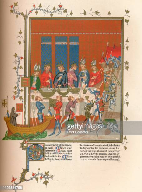 Interlude during the meal 14th century Princes and bishops at a table with a ship on the left and a siege scene on the right 19th century facsimile...
